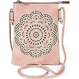 styleBREAKER Damen Mini Bag Umhängetasche mit Blumen Lasercut Cutout Muster und Strass, Schultertasche, Handtasche 02012367