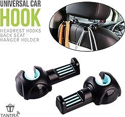Tantra Car Headrest Hooks Back Seat Hanger Holder Organizer (Black+ Blue)