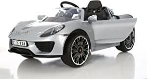 Rollplay Elektrofahrzeug mit Fernsteuerung und Rückwärtsgang, Für Kinder ab 3 Jahren, Bis max. 35 kg, 6-Volt-Akku, Bis zu 4 km/h, Porsche 918 Spyder, Silber