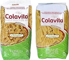 Colavita Pasta Fusilli 500g and Penne 500g -Organic Durum Wheat (Combo Pack of 2)