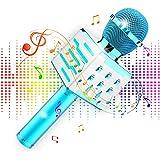 Micrófono Inalámbrico Karaoke Bluetooth, Altavoz de Alta Fidelidad de 10W Microfono Karaoke con Luz LED multicolor 4 en 1 par