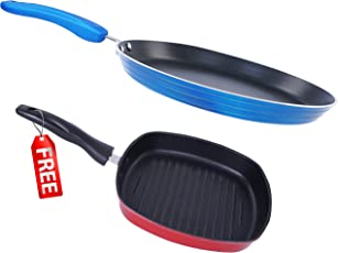 Nirlon Non-Stick Aluminium Cookware Set, 2-Pieces, Blue (Forged_FT28_GP24.5_Free)