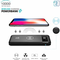 5E ABS Wireless Charging POWERBANK + | 10000 MAH | BIS Approved Power Bank | 3 Input and Dual Output (Midnight Black, 99099129)