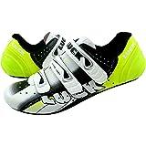 LUCK Zapatillas de Ciclismo EVO Rojo, para Carretera, con Suela de Carbono,Muy rigida y Ligera y Triple Tira de Velcro. Hombr