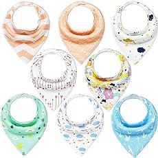 Baby Dreieckstuch Junge/Mädchen Lätzchen 8er Halstücher Set Baumwolle Spucktuch mit Druckknöpfen von YOOFOSS
