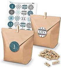 itenga DIY Adventskalender Set zum Basteln und Selberbefüllen mit Weihnachtssticker in blautönen - Papiertüten Klammern Zahlensticker