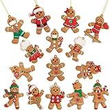 Whaline Lot de 15 décorations de Noël en forme de bonhommes en pain d'épices, 6,1 x 7,6cm, à suspendre sur le sapin de Noël