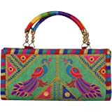 Craft Trade Womens Ethnic Handmade Embroidered Designer Clutch Hand Bag Purse Wallet for Wedding Ceremony