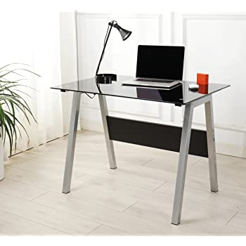 CTF ELISE Clear Tempered Glass Top Computer Desk with Solid Wood Frame