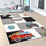 Paco Home Tapis pour Enfants Tapis De Jeu Police Pompiers Avion Carreaux Crème Gris Noir, Dimension:120x170 cm