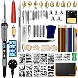 Distianert Kit de Pyrogravure 97PCS, LCD Fer à Souder Electrique 60W, Température Réglable, Conseils de pyrogravure, pochoirs