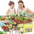 BUYGER 58 stuks boerderijdieren figuren speelgoed realistische actie dieren met activiteit speelmat in draagtas voor 3 jaar o