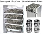 LOOMANTHA miles to go…. Combo of Exclusive Decorative 1 Fridge Top Cover, 2 Fridge Handle Cover & 4 Fridge Mat