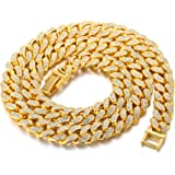 Catena Cubana Uomo Iced Out,15MM/20MM Uomo Catena d'oro Miami Placcato in Oro 18 Carati/Platino Placcato Finitura in Oro Bian