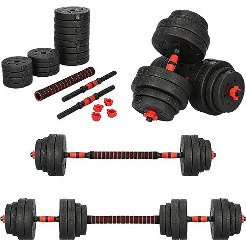 Springos - Set di manubri regolabili, 2 x 10 kg, impugnature e dischi, chiusure a stella, raccordo per bilanciere, soluzione pratica per allenamento di forza, bodybuilding, fitness, costruzione muscolare