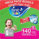 Fine Baby Diapers, DoubleLock Technology , Size 5, Maxi 11–18kg, Mega Pack. Pack of 2 each pack, each pack contain 70 diaper'