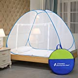 Classic Mosquito Net , Single Bed, Strong 30GSM, PVC Coated Steel ( L200CM X W120CM X H130CM) Polyester Foldable - Blue.