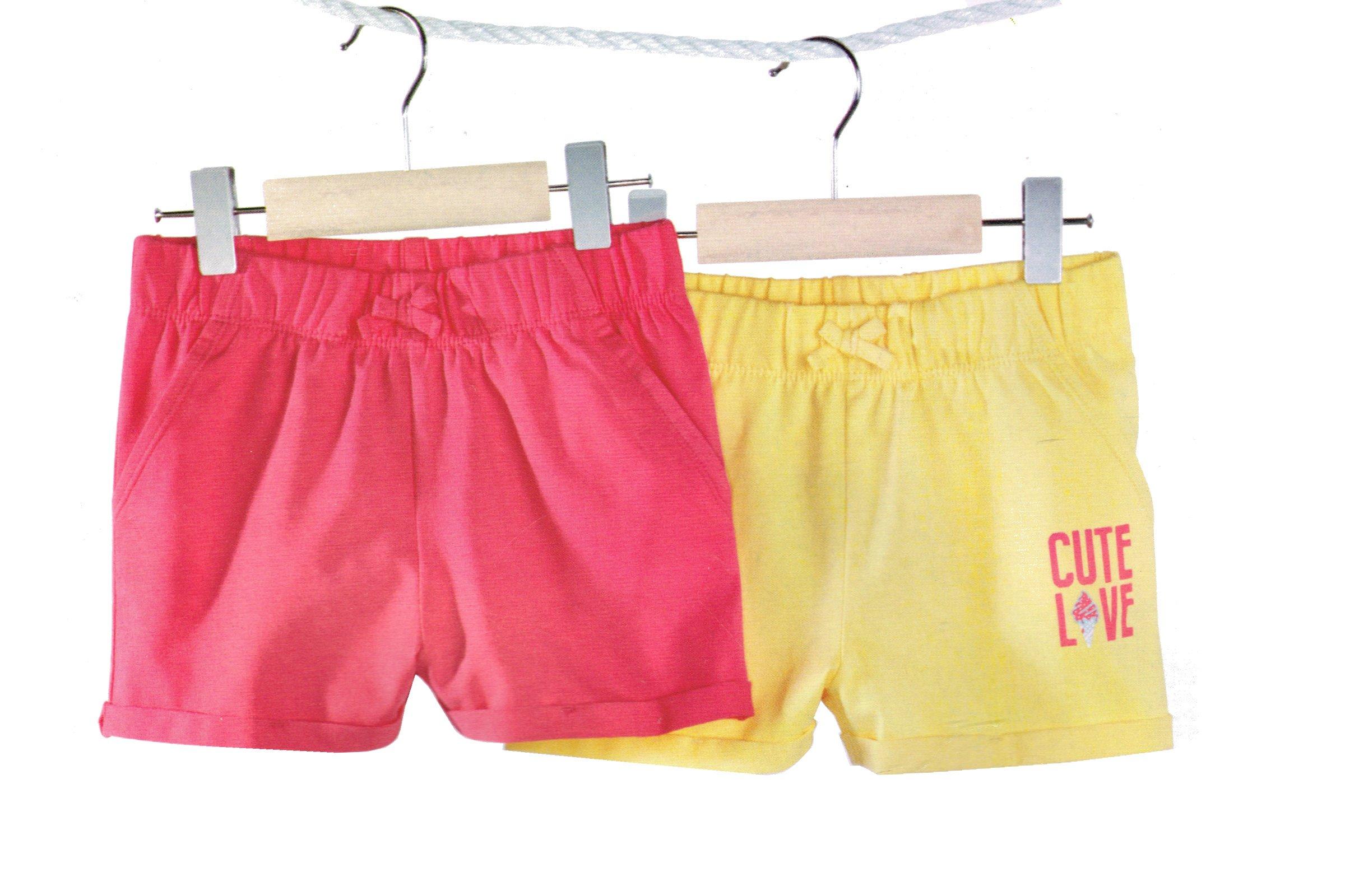 Lupilu® 2 Kleinkinder Mädchen Short / Rock Set Pink/Gelb 86/92