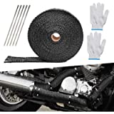 LAMEK 10M*5CM Black Exhaust Tape,Motorbike Heat Wrap Tape Roll Titanium Insulating Tape with 10pcs Cable Ties and A Pair…
