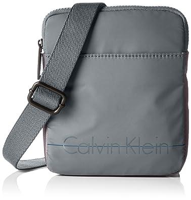 5075491dbf Calvin Klein Jeans Men's LOGAN 2.0 MINI FLAT Shoulder Bag Grey Grau ...