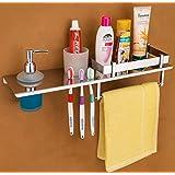 FLOWEYS Stainless Steel Chrome Finish Bathroom Shelves with Soap Dispenser and Rack (Silver) , Set of 1