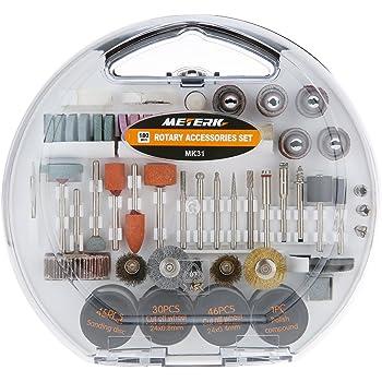 """Accessori per utensili rotanti,Meterk 180pcs Set di accessori per multiuso utensili rotanti 1/8""""per un facile taglio, Rettifica di levigatura, Incisione di,foratura,Lucidatura,Progetto fai-da-te"""