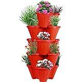 POTS4NATURE Sharpex Garden Stacking 5 Tier Vertical Plastic Indoor/Outdoor Gardening Pot Tower/Planter for Fresh Herbs…
