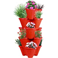 POTS4NATURE Sharpex Garden Stacking 5 Tier Vertical Plastic Indoor/Outdoor Gardening Pot Tower/Planter for Fresh Herbs…
