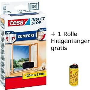 tesa Insect Stop Comfort Fliegengitter f/ür bodentiefe Fenster//Insektenschutz mit Selbstklebendem Klettband in Anthrazit 1 Rolle Fliegenf/änger Gratis 3X 130 cm x 150 cm