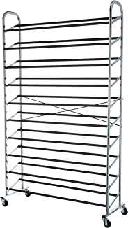 AmazonBasics 50-Pair Metal Shoe Rack with Wheels