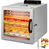 1000W Déshydrateur alimentaire à 10 bacs avec et lumière chaude, thermostat 30-90 ° C, minuterie 24 heures, déshydrateur pour