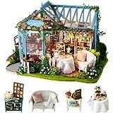 Cuteroom DIY Mini Poppenhuis Houten Meubelset, Rose Garden Tea House - Handgemaakte Cottage Hut Klein Huis met Muziekdoos - v