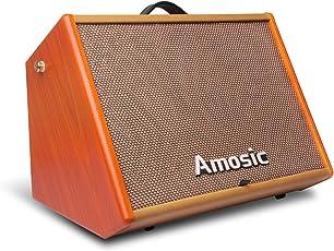 Amosic Gitarrenverstärker 25W Wiederaufladbare Lautsprecher Work Sustain für Akustische oder Elektrische Gitarre (Bluetooth)