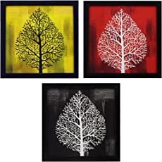 Indianara Framed Wall Hanging Decor Modern Art(1188) Prints Without Glass (8.7x8.7inch)-Set of 3 Pieces