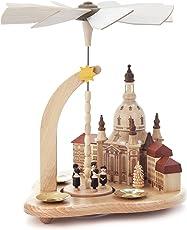 Pyramide natur mit Dresdner Frauenkirche und Kurrende, für Kerzen, von DREGENO SEIFFEN 24 cm – Original erzgebirgische Handarbeit