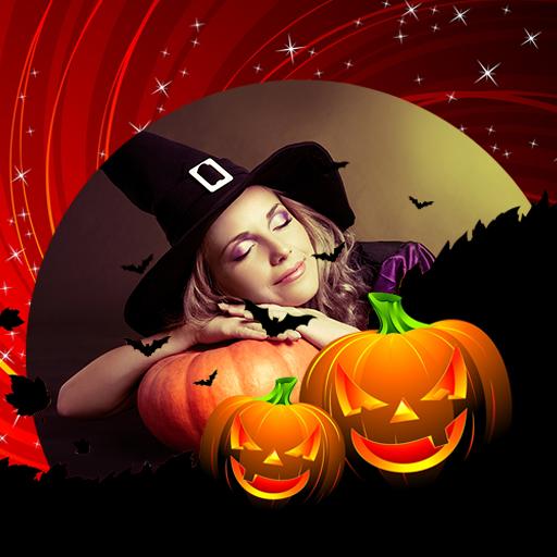 Halloween-Fotorahmen (Masken Hexe Beängstigend)