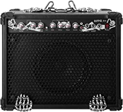 "Rocktile Ripper G.30 Heavy Metal E-Gitarren Verstärker schwarz (30W, 10"" Speaker, Totenkopf Design, 2 Kanäle, Clan oder Lead, 3-Band EQ)"