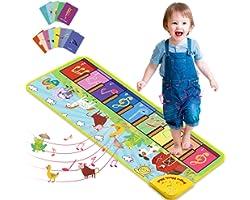 Joyjoz Tappeto Musicale Bambini con 25 Suoni, Tappeto Piano con 7 Suoni di Animali, Tappeto Danza Musicale Tocco Mat Bambini