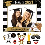 Class of 2021 Large Size Graduation Photo Booth Props Kit Graduation Selfie Photo Frame, Black and Gold Glitter, for…