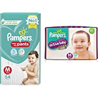 Pampers New Diaper Pants, Medium, 54 Count & Pampers Active Baby Diapers - 62 Pieces (Medium)