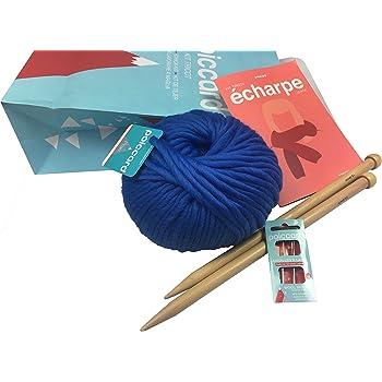 624ac9f15ab4 Kit de Tricot pour Adulte Débutant - Pack Conçu pour Tricoter une première  Echarpe en Grosse Laine - Aiguilles à tricoter en bois 15mm - Grosse Laine  du ...