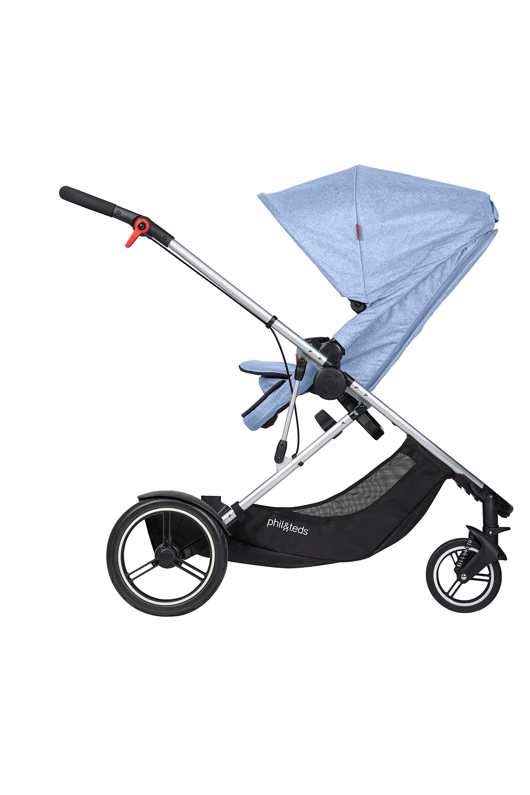 phil&teds Voyager Buggy Pushchair, Blue phil&teds 4-in-1 modular seat with four modes: parent facing, forward facing, lay flat bassinet (on buggy) and free standing bassinet (off buggy) Revolutionary stand fold with 2 seats on Double kit easily converts to lie flat mode as well 4