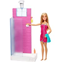 Barbie Doll and Furniture Set, Bathroom with Working Shower and Three Bath Accessories, Gift Set for 3 to 7 Year Olds