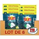 Sun Capsules Lave-Vaisselle Optimum Tout En 1 Citron Bergamote x228, Efficacité Impeccable, Ingrédients Naturels, Nettoyage,