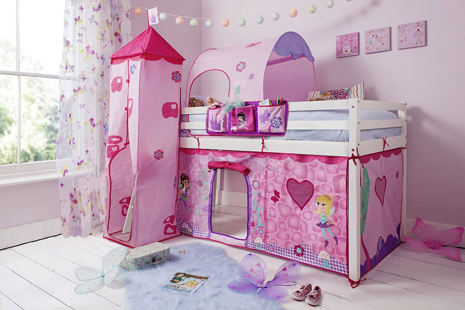 cabin bed midsleeper with tenttower tunnel u0026 bed tidy in fairies solid white amazoncouk kitchen u0026 home