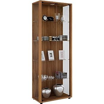 "VCM Display Cabinet Storage Unit Cupboard Bookcase Glass Shelf /""Verona/"" with LED"