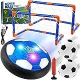 EXTSUD Air Power Fußball Kinderspielzeug, Hover Soccer Ball LED-Licht Fussball mit Fußballtore+Luftpumpe+2er Aufblasbaren Fuß