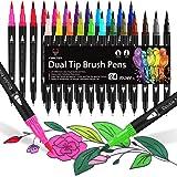 Brush Pen 24 colori Pennarelli Lettering, Dual Brush Pen con Punta Fine da 0,4 mm e 1-2mm Punta Brush, Penne da Colorare ad A