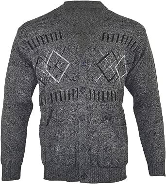 Z1 Mens Classic Zip Up Or Button Up Cardigan Argyle Diamond Grandad S M L XL
