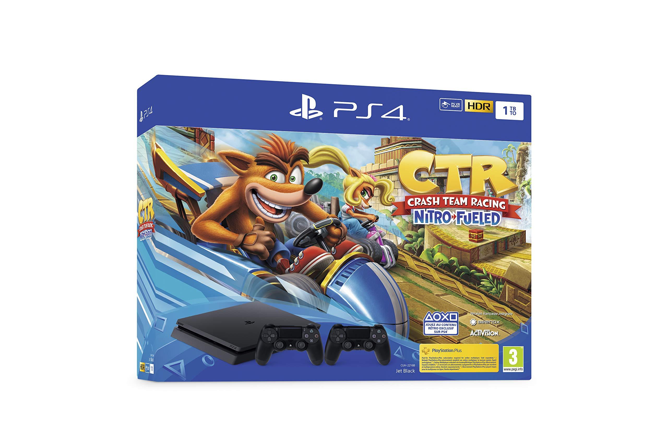 PS4 Slim 1 To F noir avec Crash Team Racing et 2nd Dual Shock 4 Noire V2